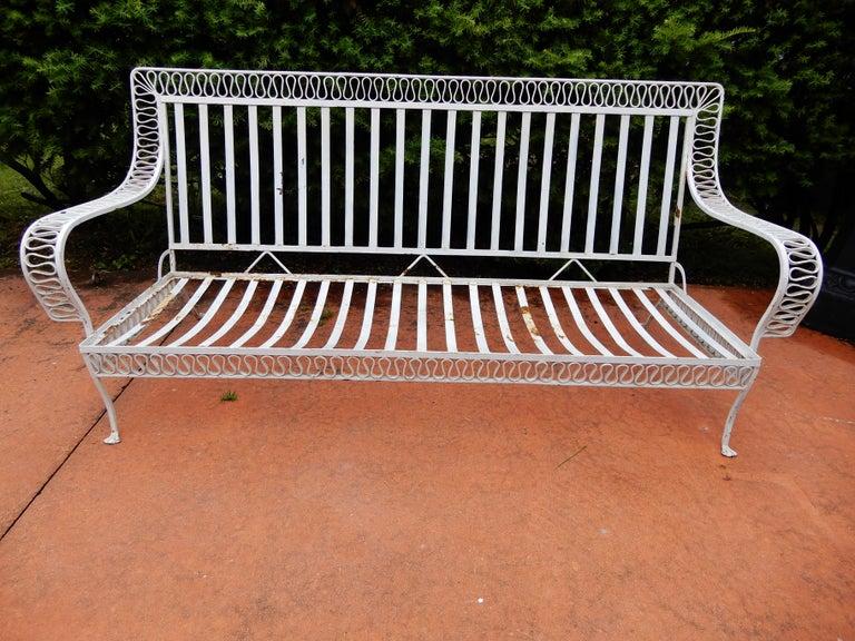Wrought Iron Salterini Mid-Century Modern Ribbon Sofa For Sale