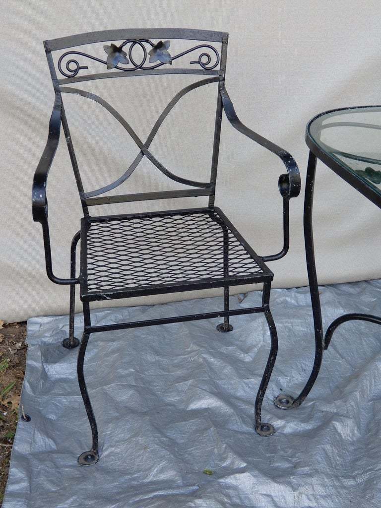 Wrought Iron Salterini Mt Vernon Vintage Dining Set For Sale