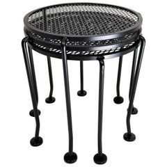 Salterini Nesting Tables Round Black Wrought Iron Midcentury, Set of 3