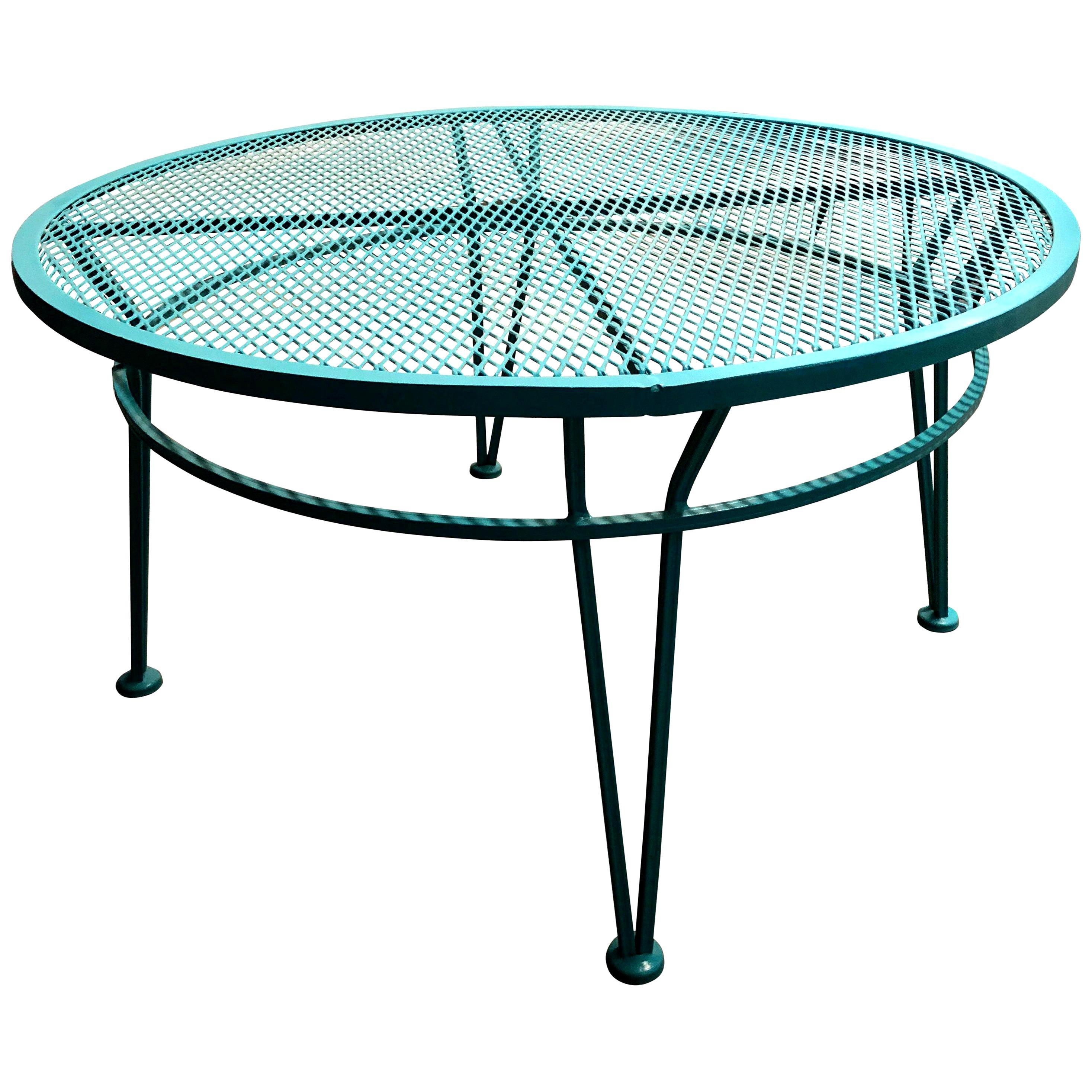 "Salterini Newly Enameled Blue Wrought Iron Patio / Garden ""Radar"" Cocktail Table"