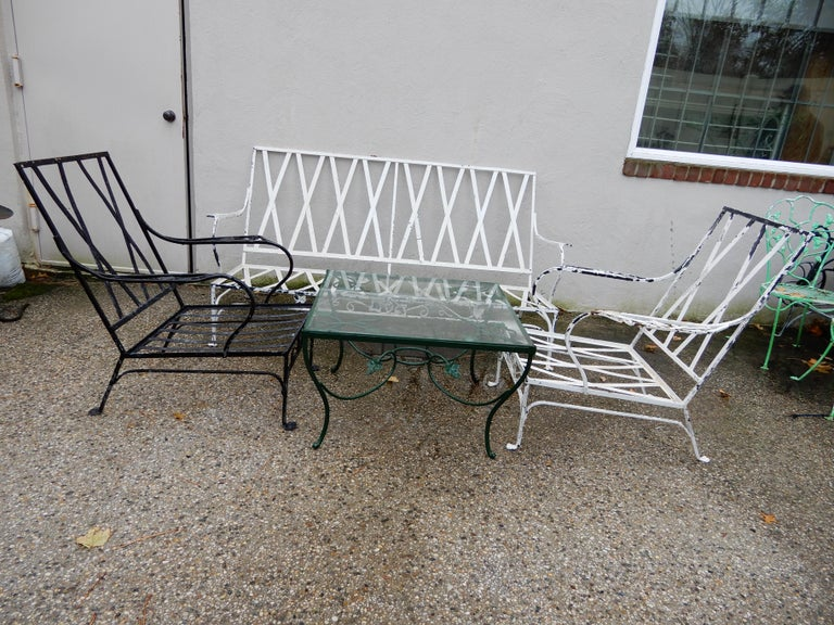 Salterini Patio Set 4-Piece Mt Vernon Ready to be Restored In Good Condition For Sale In Long Island, NY