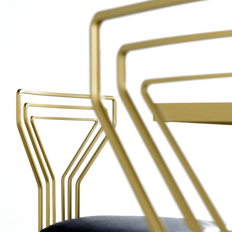 Salterini Style Art Deco / Modern Gold Painted Gilt Metal Glass Top Dinette Set For Sale 5