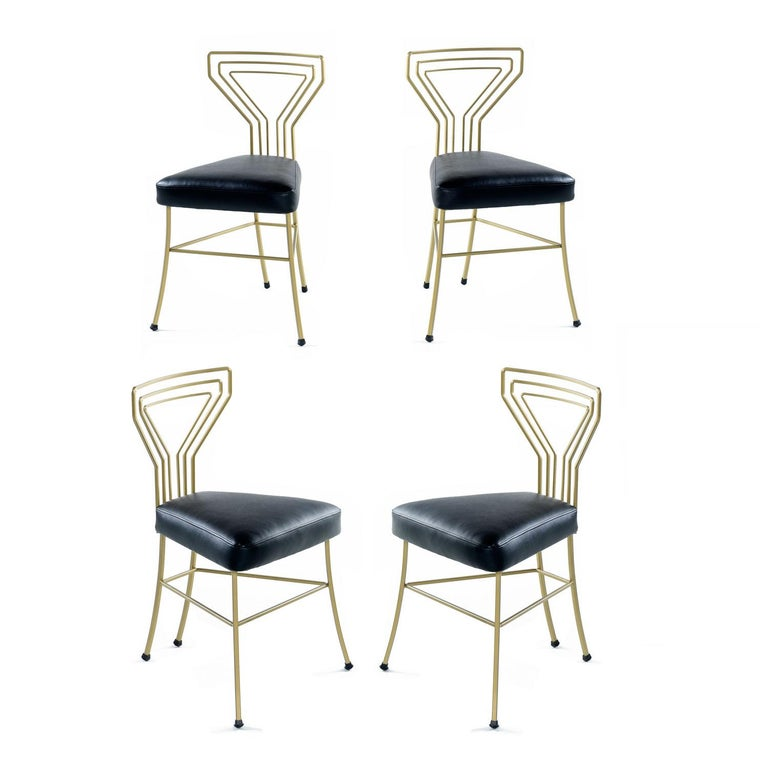 Art Deco, Hollywood Regency and Mid-Century Modern design elements have combined to create what is arguably the most sublime patio dinette set ever. Gilt gold and black glam of this caliber transcends trends. Steeped in mystery, we have no idea who
