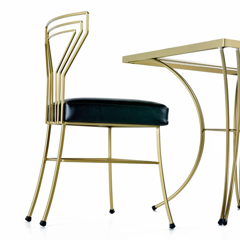 Salterini Style Art Deco / Modern Gold Painted Gilt Metal Glass Top Dinette Set In Excellent Condition For Sale In Saint Petersburg, FL
