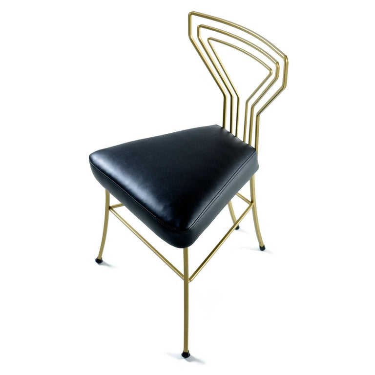 Salterini Style Art Deco / Modern Gold Painted Gilt Metal Glass Top Dinette Set For Sale 1