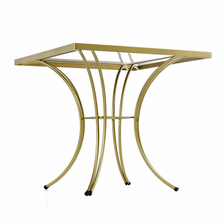 Salterini Style Art Deco / Modern Gold Painted Gilt Metal Glass Top Dinette Set For Sale 3