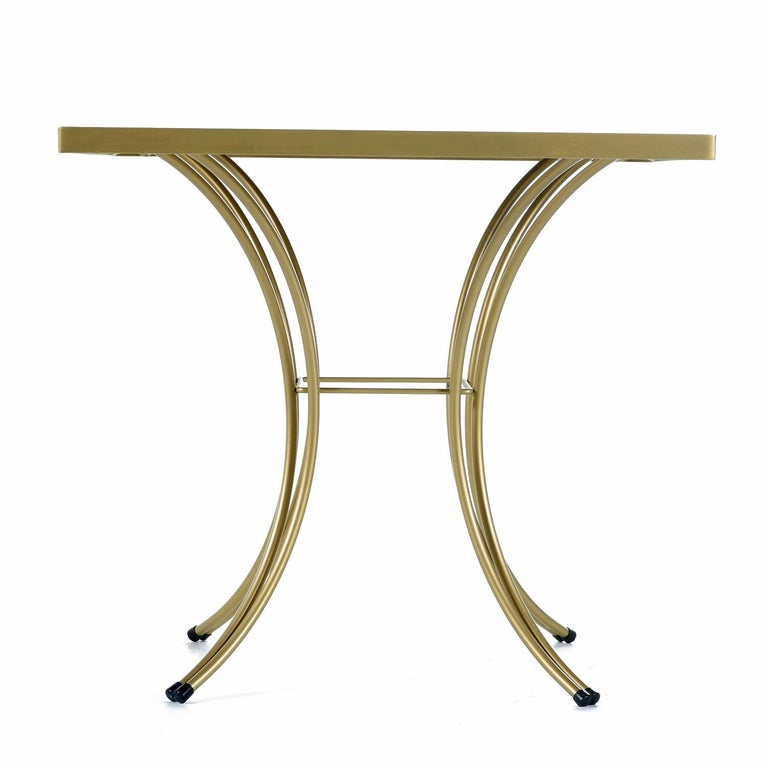 Salterini Style Art Deco / Modern Gold Painted Gilt Metal Glass Top Dinette Set For Sale 4