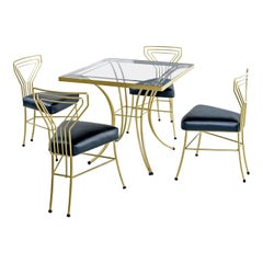Salterini Style Art Deco / Modern Gold Painted Gilt Metal Glass Top Dinette Set