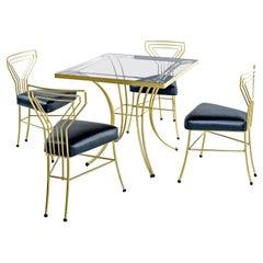 Salterini Style Art Deco / Modern Gold Painted Gilt Metal Glass Top Dinette Set