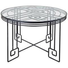 Salterini Style Greek Key Iron Garden Dining Table