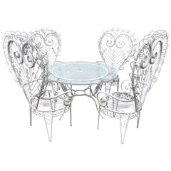 Salterini Style White Iron Peacock Patio Set
