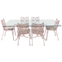Salterini Style Wrought and Cast Metal Table and Chairs Garden Patio Set Pink