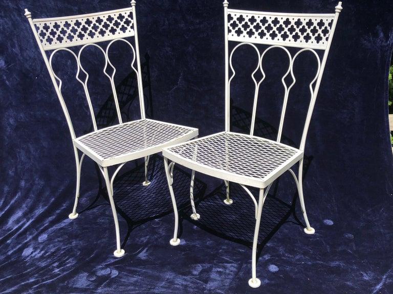 Aesthetic Movement Salterini Taj Mahal Pair of Wrought Iron Rare Midcentury Patio Dining Chairs For Sale