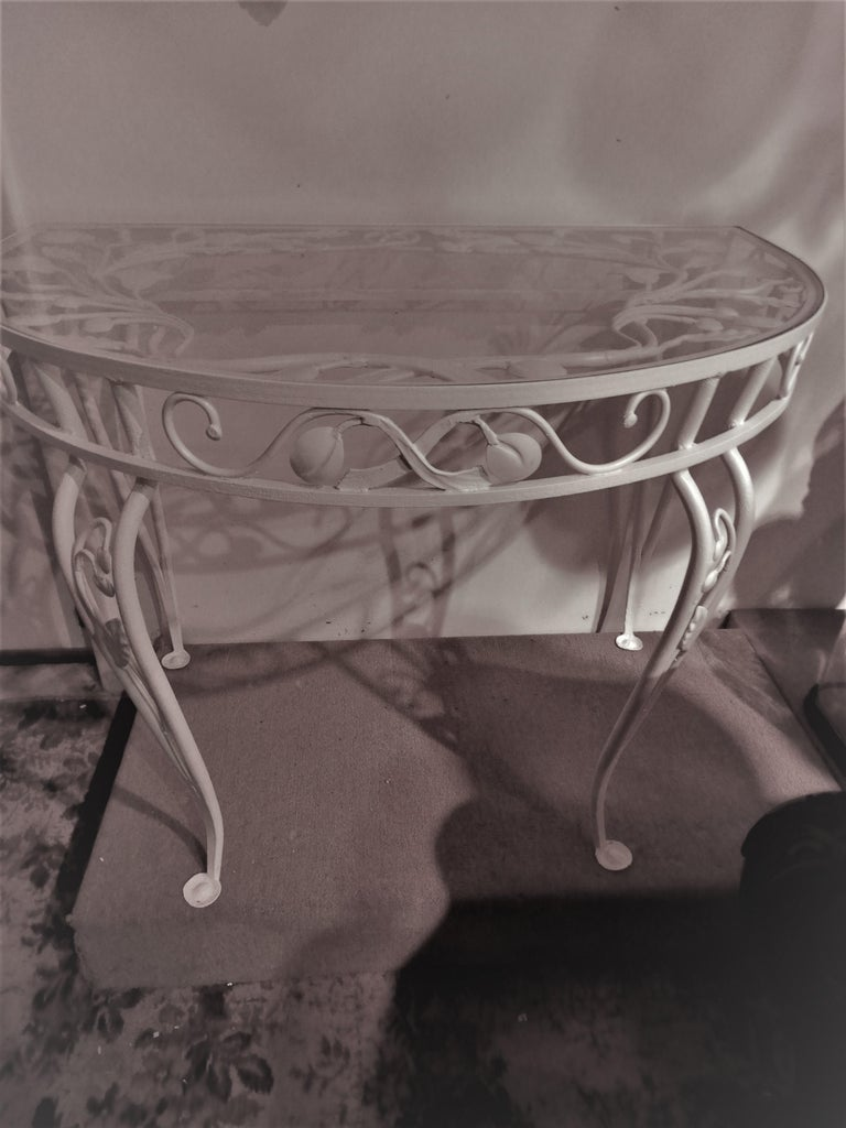 Wrought Iron Salterini Vintage Rare Console Table For Sale