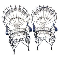 Salterini White Twisted Wrought Iron Peacock Chairs, a Pair