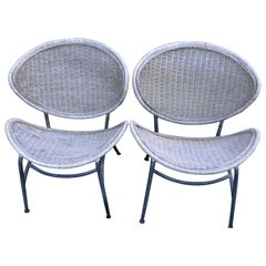 Salterini Wicker Clamshell Chairs, Pair, with Steel Frame for Home, Patio, Porch