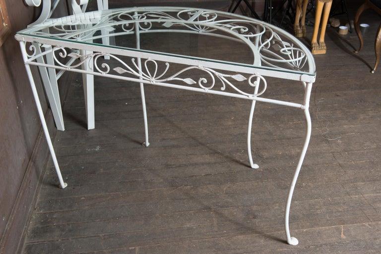 Salterini Wrought Iron Demi Lune Console Table For Sale 4