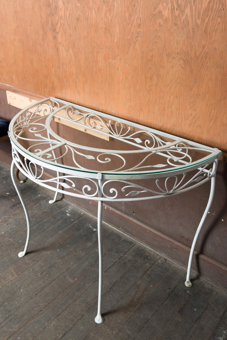 Salterini Wrought Iron Demi Lune Console Table In Good Condition For Sale In Stamford, CT
