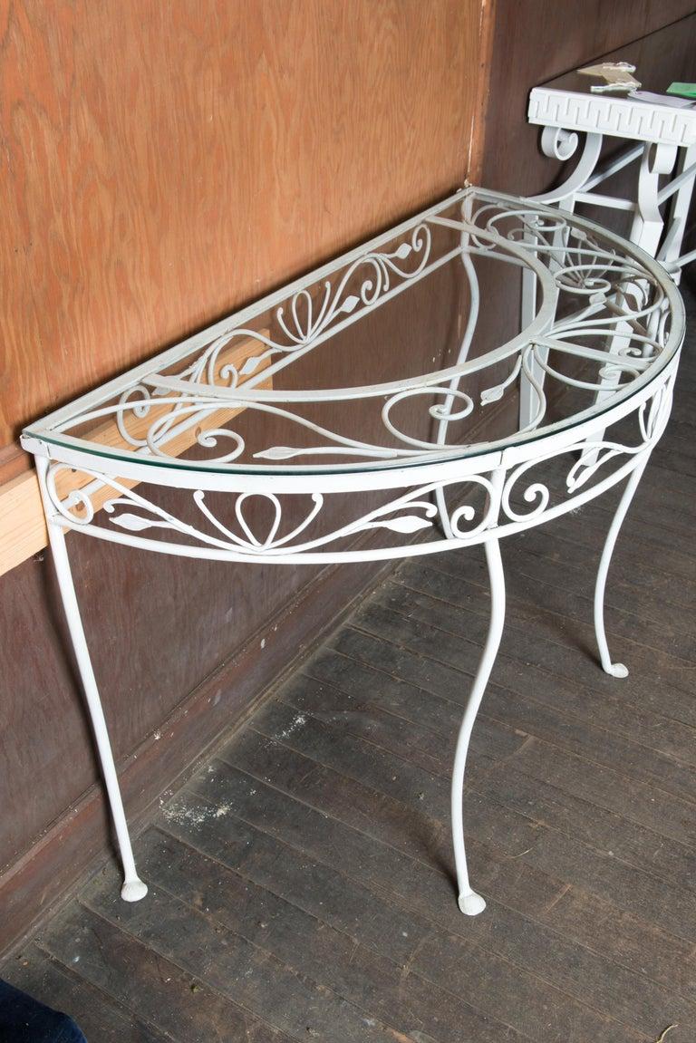 Mid-20th Century Salterini Wrought Iron Demi Lune Console Table For Sale