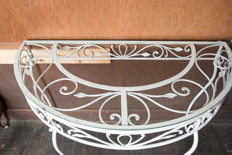Glass Salterini Wrought Iron Demi Lune Console Table For Sale