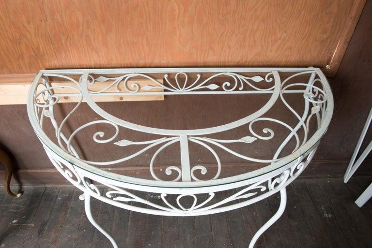Salterini Wrought Iron Demi Lune Console Table For Sale 1