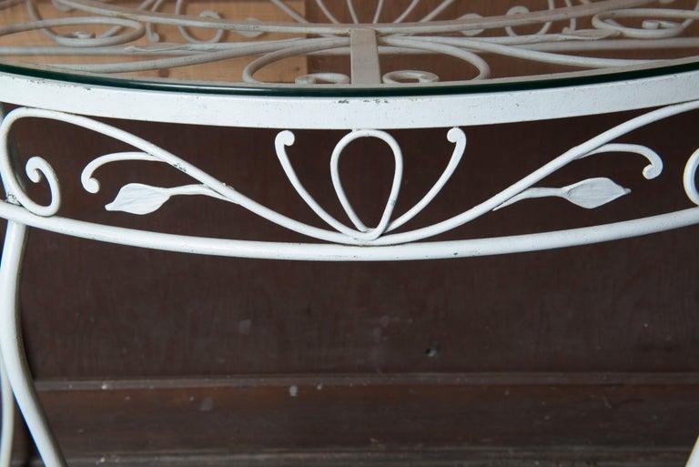 Salterini Wrought Iron Demi Lune Console Table For Sale 2