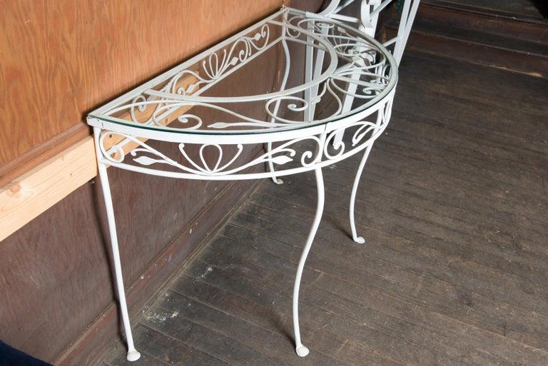 Salterini Wrought Iron Demi Lune Console Table For Sale 3