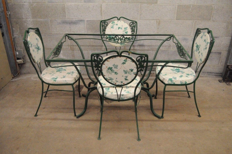 Salterini Wrought Iron Patio Dining Set Table Four Chairs Garden Furniture For Sale 6