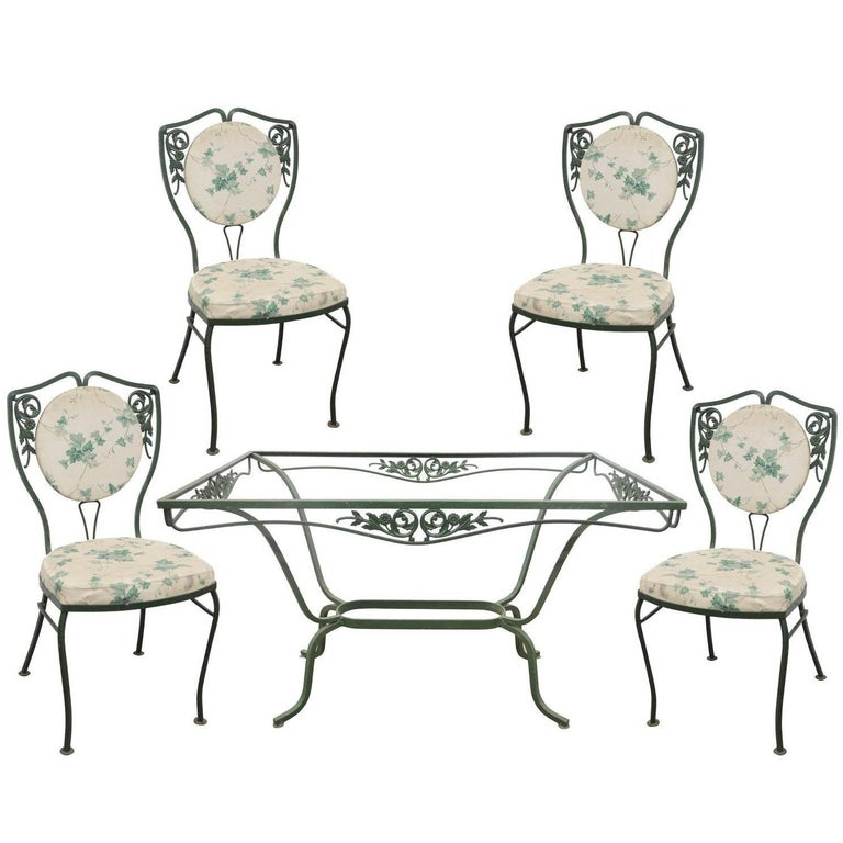 Salterini Wrought Iron Patio Dining Set Table Four Chairs ...