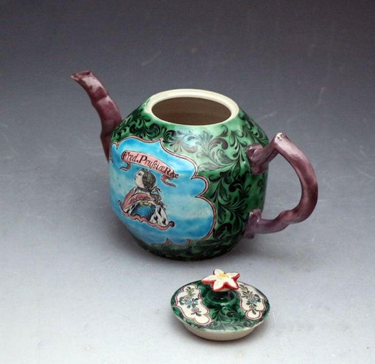 English Saltglaze Stoneware Enamel Teapot with Portrait of Frederick of Prussia For Sale