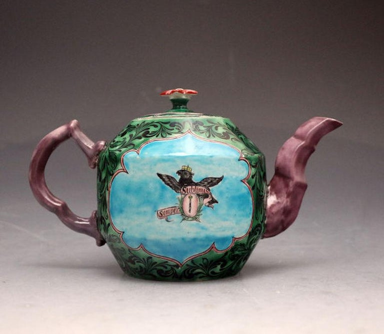 Saltglaze Stoneware Enamel Teapot with Portrait of Frederick of Prussia In Good Condition For Sale In Woodstock, OXFORDSHIRE