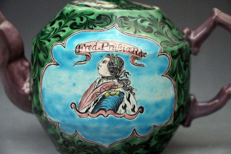 Mid-18th Century Saltglaze Stoneware Enamel Teapot with Portrait of Frederick of Prussia For Sale