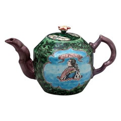 Saltglaze Stoneware Enamel Teapot with Portrait of Frederick of Prussia