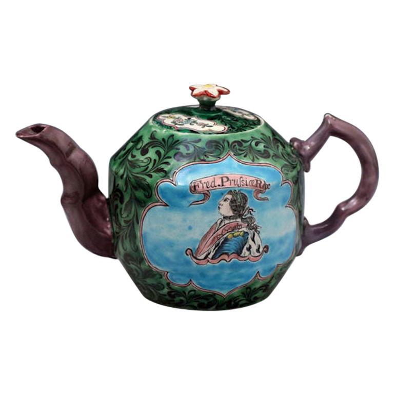 Saltglaze Stoneware Enamel Teapot with Portrait of Frederick of Prussia For Sale