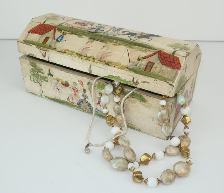 Salvador Corona Mexican Folk Art Wood Trinket Jewelry Box, C.1940 For Sale 8