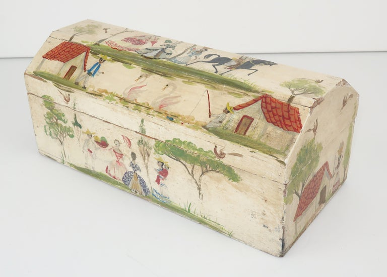This charming tabletop wood box is the work of self taught Mexican artist Salvador Corona who stared his career as an artist after suffering a bullfight injury in the early 1900's. He gained a reputation for creating countryside scenes depicting