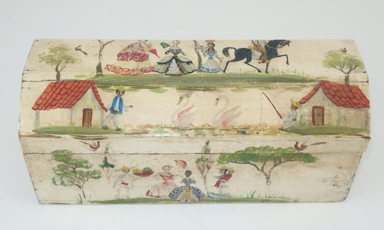 Salvador Corona Mexican Folk Art Wood Trinket Jewelry Box, C.1940 In Fair Condition For Sale In Atlanta, GA