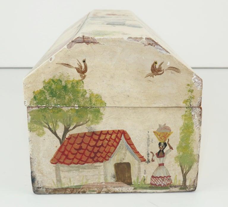 Salvador Corona Mexican Folk Art Wood Trinket Jewelry Box, C.1940 For Sale 2