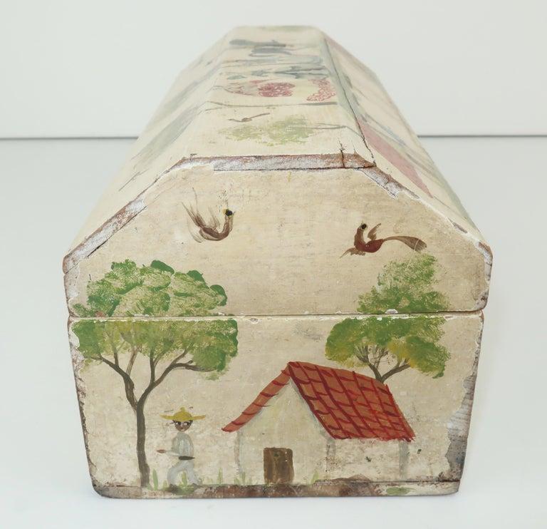 Salvador Corona Mexican Folk Art Wood Trinket Jewelry Box, C.1940 For Sale 4