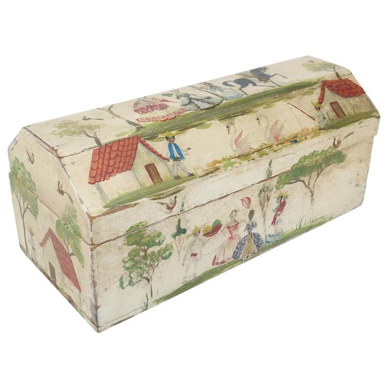 Salvador Corona Mexican Folk Art Wood Trinket Jewelry Box, C.1940 For Sale