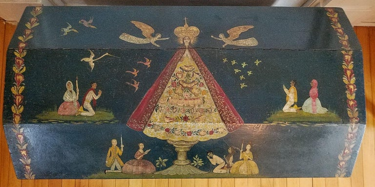 Hand-Painted Salvador Corona Painted Blanket Chest, Mexico, circa 1940 For Sale