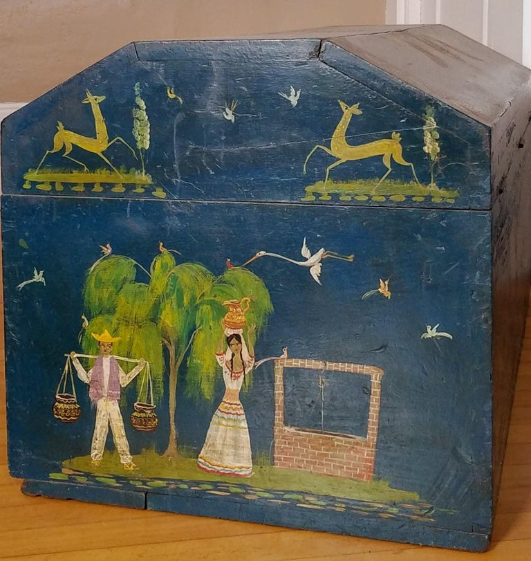 Mid-20th Century Salvador Corona Painted Blanket Chest, Mexico, circa 1940 For Sale