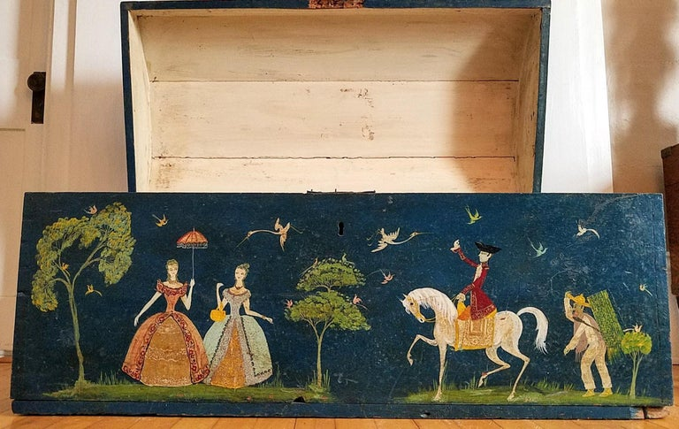 Salvador Corona Painted Blanket Chest, Mexico, circa 1940 For Sale 6