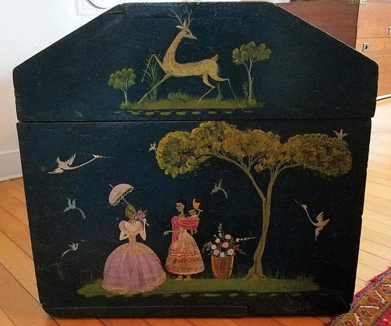 Salvador Corona Painted Blanket Chest, Mexico, circa 1940 For Sale 1