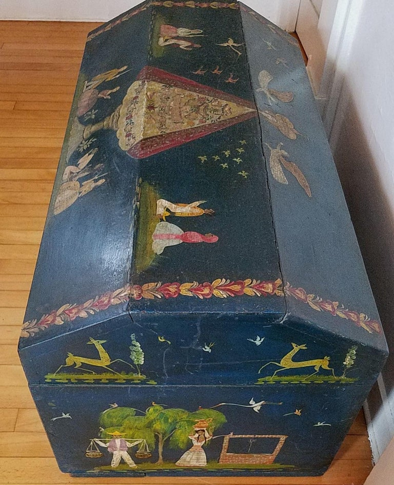 Mexican Salvador Corona Painted Blanket Chest, Mexico, circa 1940 For Sale