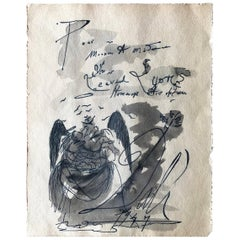 Salvador Dali 1947 Angel with Child Ink and Wash Drawing