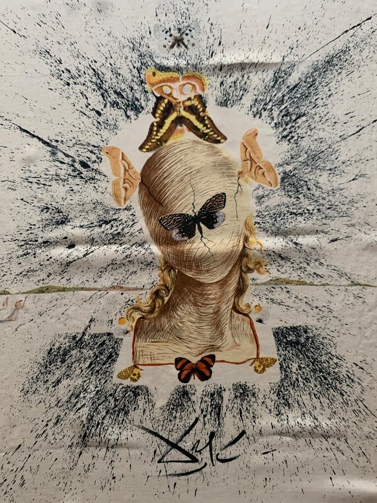 Salvador Dali 1950s Surrealist Silk Moth Scarf  In Good Condition For Sale In San Francisco, CA