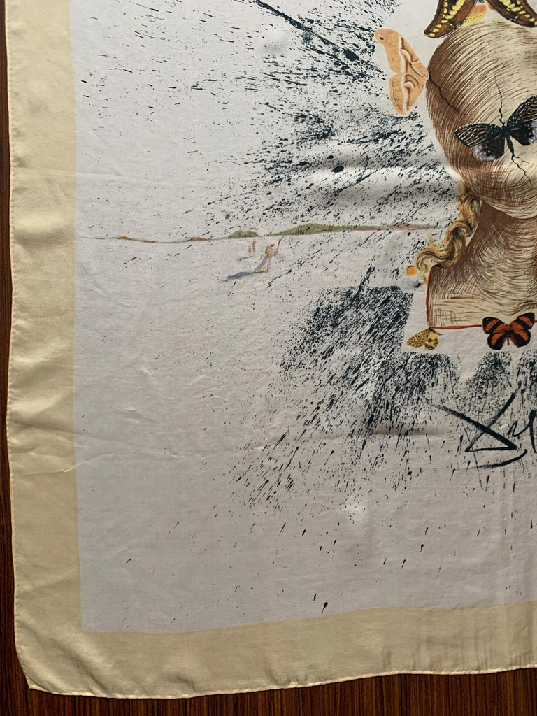 Salvador Dali 1950s Surrealist Silk Moth Scarf  For Sale 1