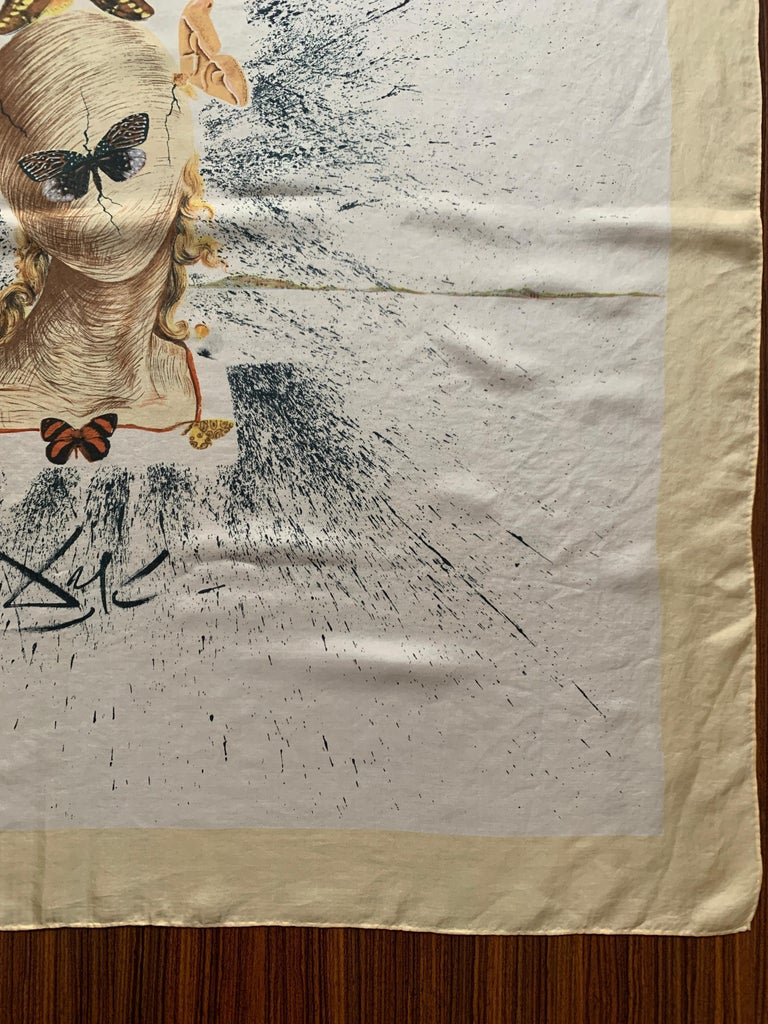 Salvador Dali 1950s Surrealist Silk Moth Scarf  For Sale 2