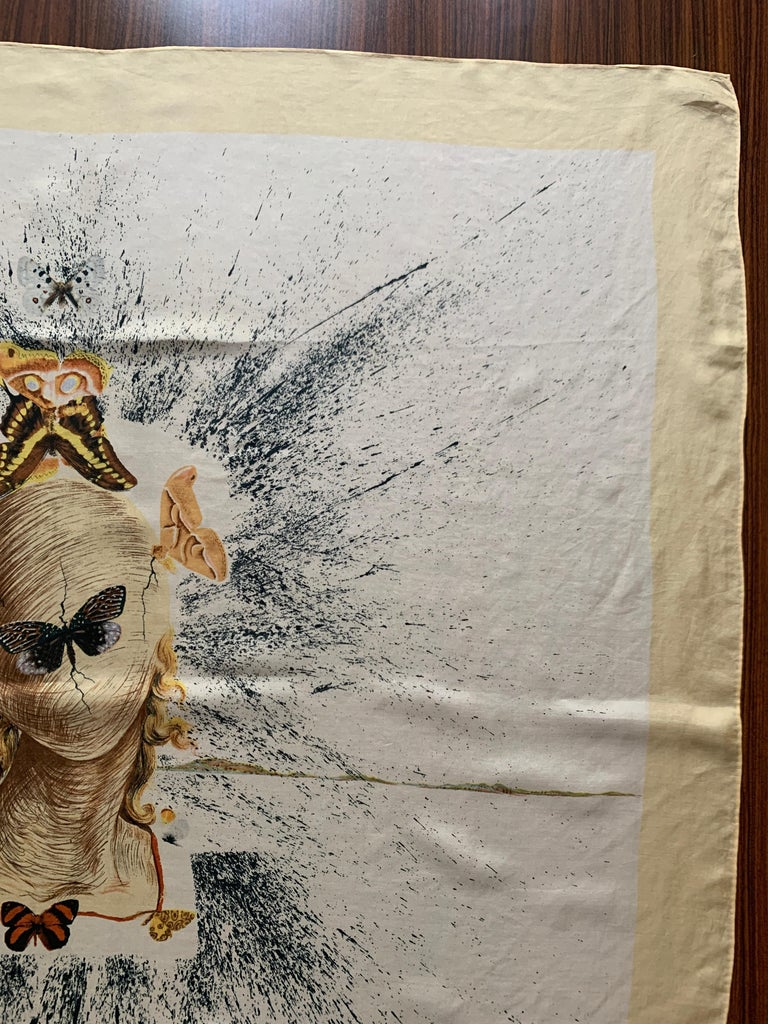 Salvador Dali 1950s Surrealist Silk Moth Scarf  For Sale 3